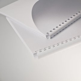 5 Plastikbinderücken 45 mm 21 Ringe weiß oval Binderücken weiss